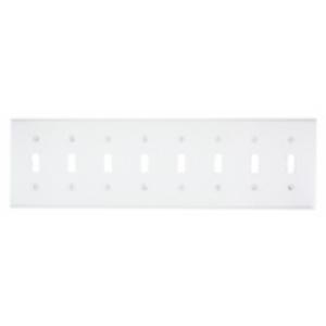Leviton S602-W Toggle Switch Wallplate, 8-Gang, Metal, White
