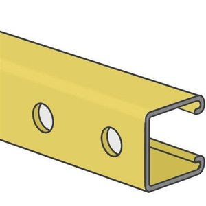 "Kindorf B-905-10 Channel - Bolt Holes, 1-1/2"" Centers, Steel, Gold, 1-1/2"" x 1-1/2"" x 10'"