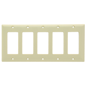 Pass & Seymour SP265-I SMOOTH WALL PLATE 5G SPLEX IVORY