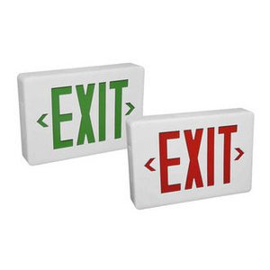 Hubbell-Dual-Lite CSXWREB3 Exit Sign, LED, White, Red Letters, 120/277V