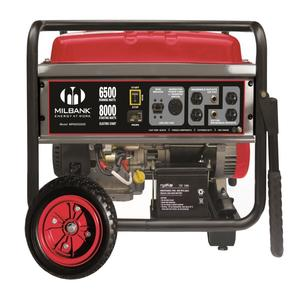 Milbank MPG6500E Generator, Portable, 6.5kW, 27A, 240VAC, 1PH, 3600RPM, Gas