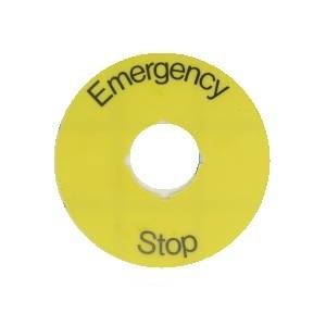 ABB 1SFA616915R1005 22mm Legend Plate, Emergency Stop