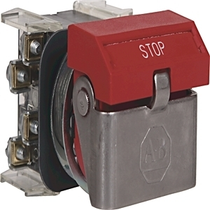 Allen-Bradley 800H-WK61A Push Button, Flip Lever Operator, Red, STOP, 1NO/1NC, Contacts