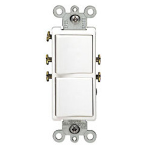 Leviton 5641-W 15A, 120V Comb. Decora Rocker Switch, 3-Way, White