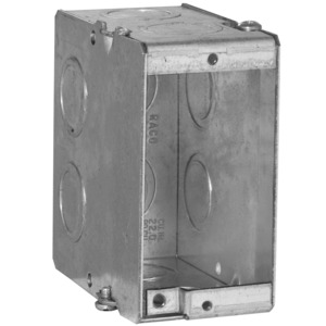 "Hubbell-Raco 689 Masonry Box, 1-Gang, 3-1/2"" Deep, 1/2 "" & 3/4"" KOs, Metallic"