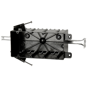 """Allied Moulded P-764B Switch/Outlet Box with Bracket, Depth: 3-1/4"""", 4-Gang, Non-Metallic"""