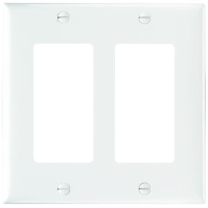 Pass & Seymour SP262-W Wallplate, Decorator Openings, Plastic, Two Gang, White