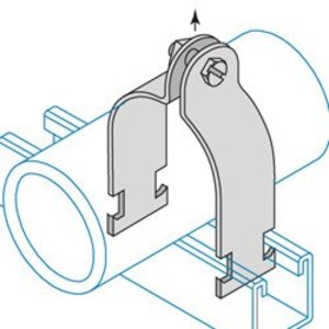 "Power-Utility Products RIG-A-1-1/2-EG Strut Clamp, Size: 1-1/2"", Steel/Electro-Galvanized"