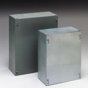 "Eaton B-Line 886-SC Enclosure, NEMA 1, Screw Cover, 8"" x 8"" x 6"", KO, Steel"