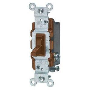 Leviton 1453-2 3-Way Toggle Switch, 15A, 120VAC, Brown, Residential Grade