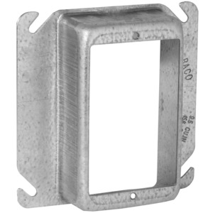 "Hubbell-Raco 775 4"" Square Cover, 1-Device, Mud Ring, 1-1/4"" Raised, Drawn, Metallic"
