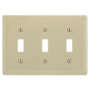 Hubbell-Bryant NP3I Toggle Switch Wallplate, 3-Gang, Nylon, Ivory