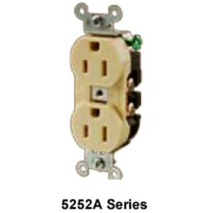 Hubbell-Kellems 5352AI Duplex Receptacle, 20A, 125V, Ivory, Commercial/Industrial