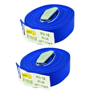 Dottie 2WS10 10' Web Straps w/ Buckle, Nylon - Blue, 2 Included