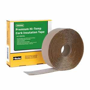 "Parker PTH1 Premium Hi-Temp Cork Insulation Tape,  2"" x 30', Black"
