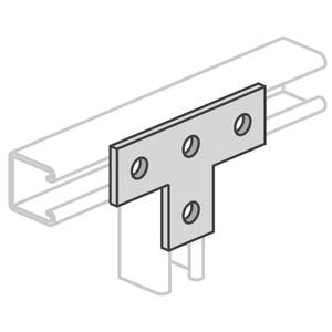 "Power-Strut PS714-EG Tee Splice Plate, 4-Hole, 5-3/8"" x 3-1/2"", Steel/Electro-Galvanized"