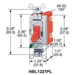 Hubbell-Kellems HBL1223PL 3 WAY TOG IND GRD 20A 120/277V PL RD