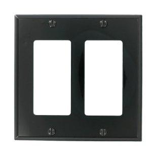 Leviton 80409-NE Decora Wallplate, 2-Gang, Nylon, Black