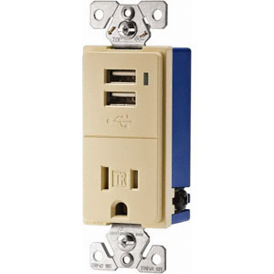 Eaton Arrow Hart TR7740A-BOX 15 Amp, 120V, USB Combination Decora Receptacle, White