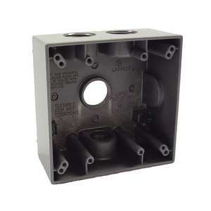 "Hubbell-Raco 5343-0 Weatherproof Outlet Box, 2-Gang, Depth: 2"", Die Cast"
