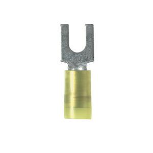 Panduit PN10-8F-L Fork Terminal, Nylon Insulated, 12-10 AWG, #8 Bolt, Yellow