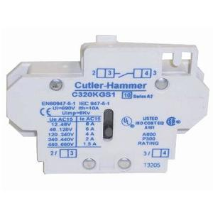 Eaton C320KGS2 Contactor, Auxiliary Contact, Pilot Rated, 10A, 600VAC, Side Mount, 1NC