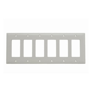 Pass & Seymour TP266-LA 6-Gang, Decora Wall Plate, Light Almond