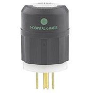 Leviton 8215-C 15 Amp Hospital Grade Plug, 125V, 5-15P, Black/White