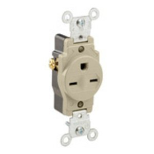 Leviton 5089-I 15 Amp Single Receptacle, 250V, 6-15R, Ivory, Self-Grounding