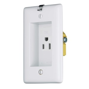 Hubbell-Wiring Kellems RR151CHWTR Clock Hanger Receptacle, 15A, 125V, 2P3W, White