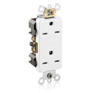 Leviton 16662-W 15A Duplex Receptacle, Decora, White, 250V, Commercial Grade, 6-15R