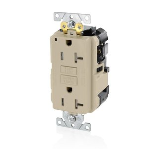 Leviton MGFT2-I GFCI Self-Test Receptacle, 20A, 125V, Ivory, Extra-Heavy Duty