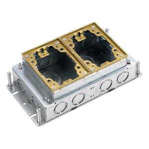 Hubbell-Kellems B2422 Rectangular Metallic Floor Boxes, 2-G Shallow Stamped Steel, Brass Top