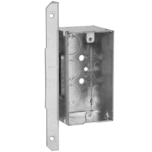 "Hubbell-Raco 671 Handy Box, Depth: 2-1/8"", 1/2"" KOs, A Bracket, Drawn, Metallic"