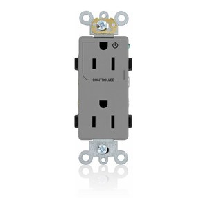 Leviton 16252-1PG Decora Single Receptacle, Control Printed, 15A, 125V, Grey