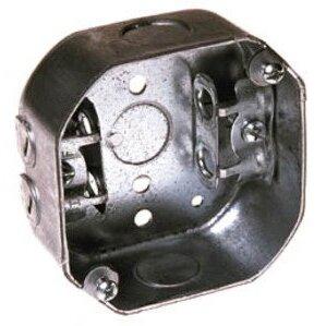 "Hubbell-Raco 153 4"" Octagon Box, 1-1/2"" Deep, AC/MC Clamps, 1/2"" KOs, Drawn, Steel"
