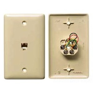 Hubbell-Premise NS730W Wall Plate & Jack, 4C, RJ11, 1 Gang, White