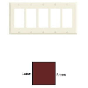 Leviton 80423 Decora Wallplate, 5-Gang, Thermoset, Brown