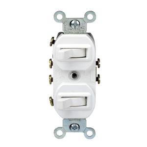 Leviton 5243-W Combination Switch, Toggle, (2) 3-Way, 15A, 120V, White