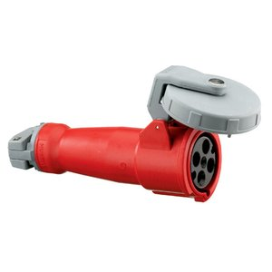 Hubbell-Kellems HBL460C7W Pin & Sleeve Connector, 60A, 3PH Delta 480V, 3P4W, Red