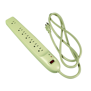 Pass & Seymour PS7 Power Strip with Surge Protection, 7 Outlets, 6' Cord, Gray