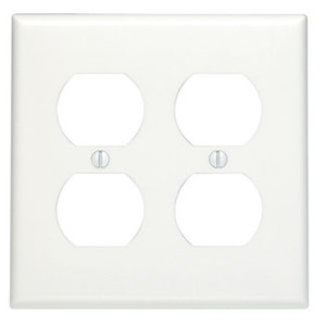 Leviton 88016 Duplex Receptacle Wallplate, 2-Gang, Thermoset, White