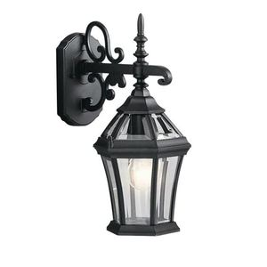 Kichler 9789BK Lantern, Outdoor, 1 Light, 100W, Black Finish