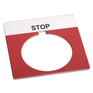 "Allen-Bradley 800T-X550 Legend Plate, Standard, 30mm, Red w/Black Text ""STOP"""