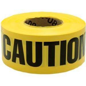"3M 300 ""Caution Caution Caution"" Barricade Tape, 3"" x 1000', Yellow"