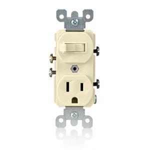 Leviton 5225-T Combination Toggle Switch / Duplex Receptacle, 15A, Light Almond