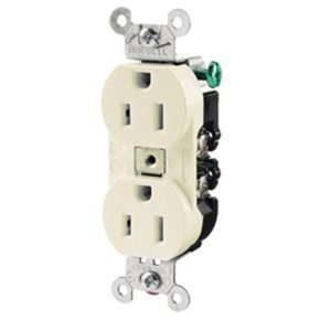 Hubbell-Kellems CR15I Duplex Receptacle, 15A, 125V, Narrow, 5-15R, Ivory