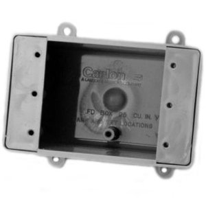 "Carlon E9801 Device Box, 1-Gang, No Hubs, Depth: 2-3/4"", FD Style, Non-Metallic"