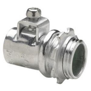 "Cooper Crouse-Hinds ACB38 AC/MC/Flex Connector, 3/8"", Cable Range: 0.400 - 0.660"", Steel/Zinc"