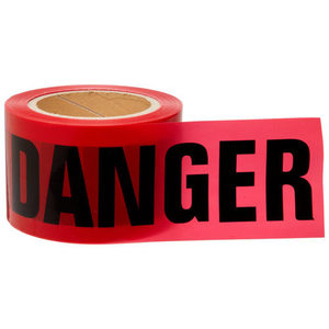 "Brady 91200 Barricade Tape, Danger, 3"" x 200', Non-Adhesive Polyethylene"